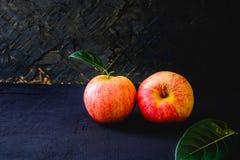 Deux pommes rouges fraîches image libre de droits