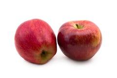 Deux pommes rouges fraîches Images stock