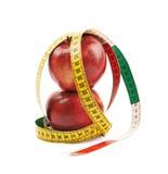 Deux pommes rouges mûres Photo stock