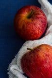 Deux pommes royales de gala avec un tissu blanc sur un fond bleu Fermez-vous, copiez l'espace Image libre de droits