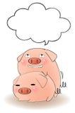 Deux porcs de bande dessinée ayant le sexe avec la bulle de la parole Photo libre de droits
