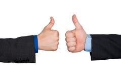 Deux pouces lèvent le signe de main Photo stock