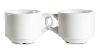 Deux pour le prix d'un met en forme de tasse. photos stock