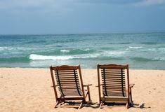 Deux présidences à la plage Photographie stock libre de droits