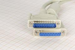 Deux prises de câble d'ordinateur de LPT Images libres de droits