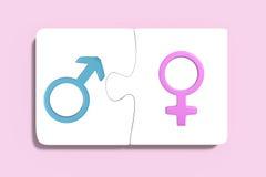 Deux puzzles avec des symboles de femmes et d'hommes illustration stock
