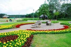 Deux RAM sur le pont dans la ville de Druskininkai Image libre de droits