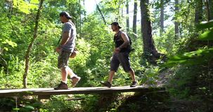 Deux randonneurs de frères entrant dans la réserve forestière clips vidéos