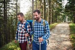Deux randonneurs parlant ensemble sur une traînée dans les bois Photo stock