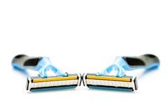 Deux rasoirs de rasage d'isolement sur un fond blanc Photo stock