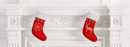 Deux rendu rouge des bas 3d de Noël Image stock