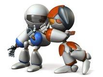 Deux robots chuchotent l'histoire secrète Photographie stock