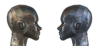 Deux robots en acier égaux dans le profil Images libres de droits