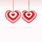 Deux rouges et coeurs roses - vecteur de jour de valentines Photographie stock libre de droits