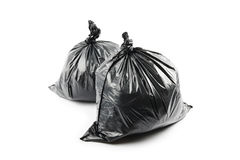 Deux sacs de déchets noirs photos libres de droits