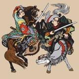 Deux samouraïs japonais combattant avec des épées illustration libre de droits
