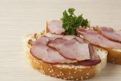 Deux sandwichs au jambon délicieux Photographie stock
