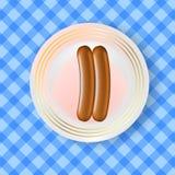 Deux saucisses bouillies réalistes illustration de vecteur