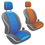 Deux sièges de sport de voiture dans différentes couleurs Images libres de droits