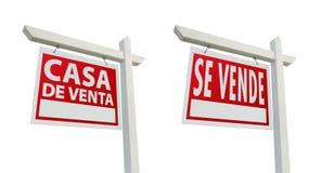 Deux signes espagnols d'immeubles avec des chemins de découpage Photo libre de droits