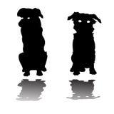 Deux silhouettes de petits crabots Illustration de Vecteur