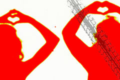 Deux silhouettes des personnes en rouge faisant un amour signent Photos stock