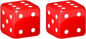 Deux six sur le dessus découpe en rouge Image stock