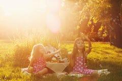 Deux soeurs aux bulles de coup de pique-nique Photo stock
