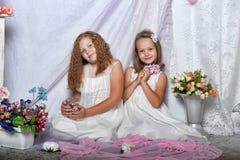 Deux soeurs dans des robes blanches Photographie stock libre de droits