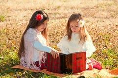 Deux soeurs de filles ont affiché le livre sur l'herbe Images stock