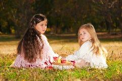 Deux soeurs de filles ont affiché le livre sur l'herbe Images libres de droits