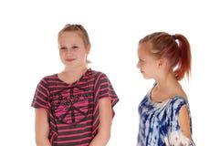 Deux soeurs discutant les uns avec les autres Images stock