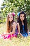 Deux soeurs fixant en parc Image libre de droits