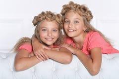 Deux soeurs jumelles adorables dans de belles robes roses photo libre de droits