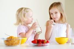 Deux soeurs mangeant de la céréale avec du lait Photographie stock libre de droits