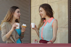 Deux soeurs rient, parlant, alors qu'elles boivent du café Photographie stock libre de droits