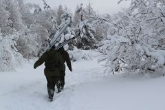 Deux soldats font leur voie par la neige dans la forêt dense d'hiver photos libres de droits