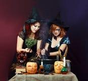 Deux sorcières de veille de la toussaint Images libres de droits