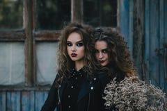 Deux sorcières de vintage ont recueilli la veille de Halloween Photo libre de droits