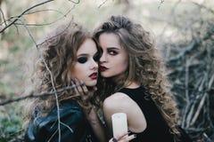 Deux sorcières de vintage ont recueilli la veille de Halloween Photo stock