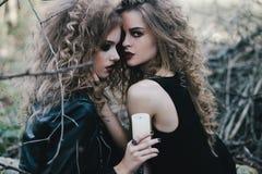 Deux sorcières de vintage ont recueilli la veille de Halloween Image libre de droits