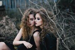 Deux sorcières de vintage ont recueilli la veille de Halloween Photos stock