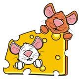 Deux souris fouissent jeter un coup d'oeil hors d'un morceau de fromage Photographie stock