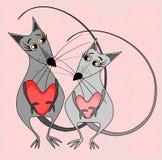 Deux souris grises d'amants avec des coeurs dans leurs pattes regardent l'un l'autre sur un fond rose - l'année du rat, illustration de vecteur