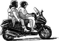 Deux sur la moto Photo libre de droits