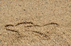 Deux symboles de coeur en sable Photo libre de droits