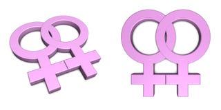 Deux symboles femelles roses sur le blanc illustration libre de droits