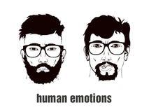 Deux têtes avec émotion Images stock