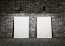 Deux tableaux blancs dans la chambre Photo libre de droits