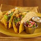 Deux tacos avec le Salsa et la crème aigre Image stock